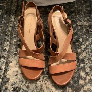 Jessica Simpson brown leather wedges